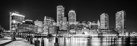 Boston Skyline Black and White Panorama Photo