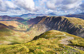 Views of Newlands Beck, High Spy, Narrow Moor and Maiden Moor in the Derwent Fells from the summit of Dale Head, Lake Distric...