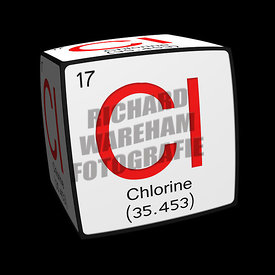 Digital Illustration - Chemical periodic table style tile Cl Chlorine cubed.
