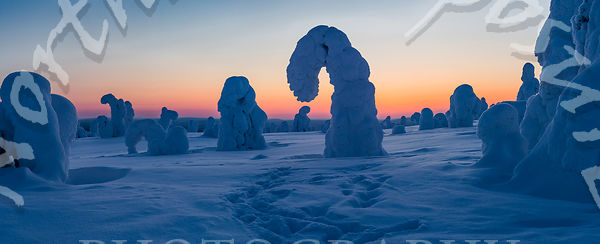 Unique Hook Tykkylumi Silhouettes in Background at Sunsets Blue Moment in Panorama