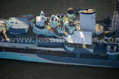 Aerial view of HMS Belfast, River Thames, London