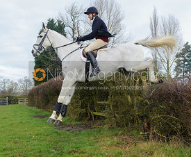 Fiona Gibson jumping the first hedge - Barleythorpe