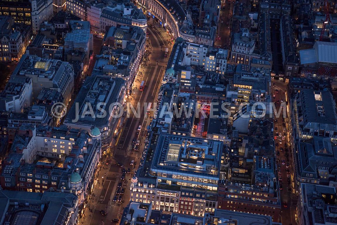 Aerial view of London, Regent Street and Saville Row  at night.