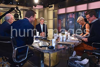 Secretary Kerry Shares Laugh With 'Morning Joe' Team Before Appearance on Program