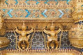 Detail on Wat Phra Kaew, a sacred Buddhist temple located within the Grand Palace in Bangkok, Thailand.