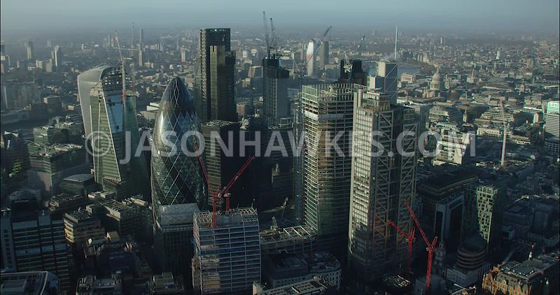 London Aerial footage, City of London skyline with The Shard in the background.