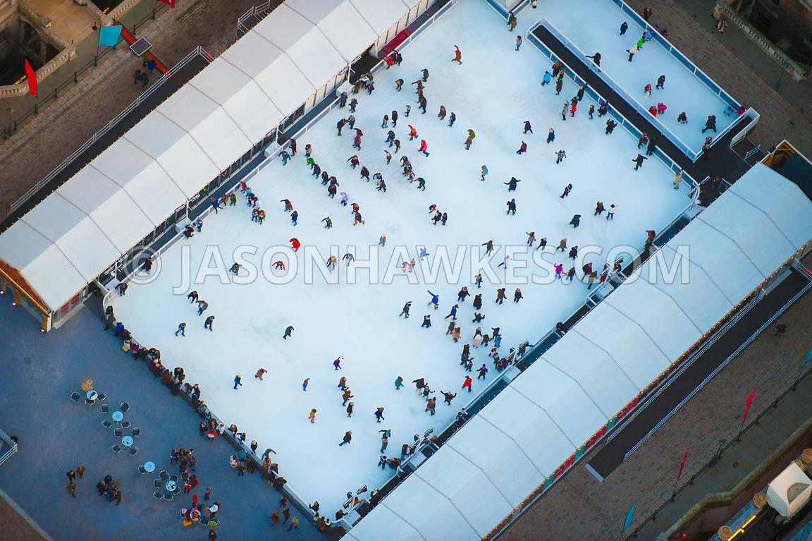Aerial view of ice skaters at Somerset House
