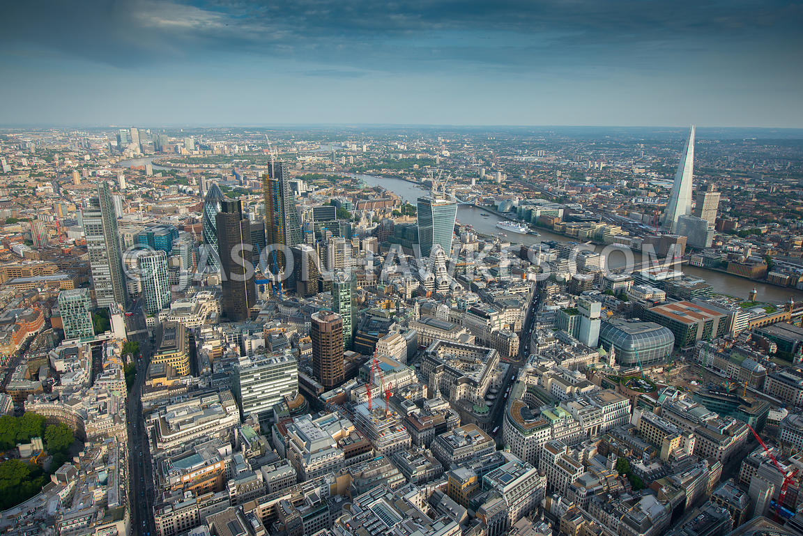 Aerial view of Bank and the City, London