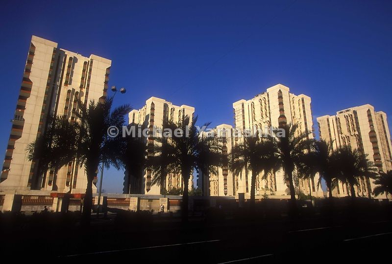 High rise apartment buildings on Haita St, most expensive apartments in Baghdad. Built during the oil boom years.