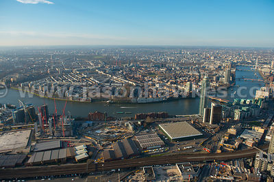 Aerial view of the Nine Elms regeneration site and Pimlico, London