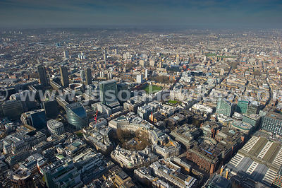 Aerial view of Finsbury Circus and Moorgate, London.