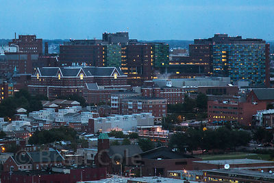 Twillight view of Johns Hopkins Hospital, Baltimore, Maryland