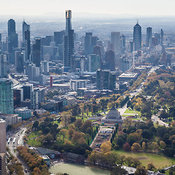 Melbourne Skyline From The South,  The Shrine of Rememberence in The Foreground, MElbourne