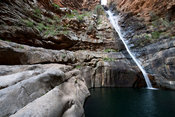 Waterfall on Meiringspoort pass along the Groot River Gorge, Oudtshoorn, South Africa