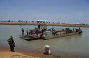 Ferry crossing the Niger river to reach Djenné town, Mali
