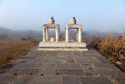 Thar Desert temple at sunrise on a foggy winter morning, Nagaur village Rajasthan, India