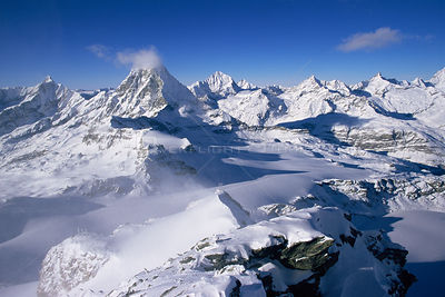 Aerial view of Matterhorn in the European Alps, near Zermatt, Switzerland