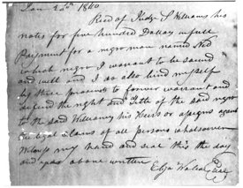 Receipt for purchase of a slave in 1840