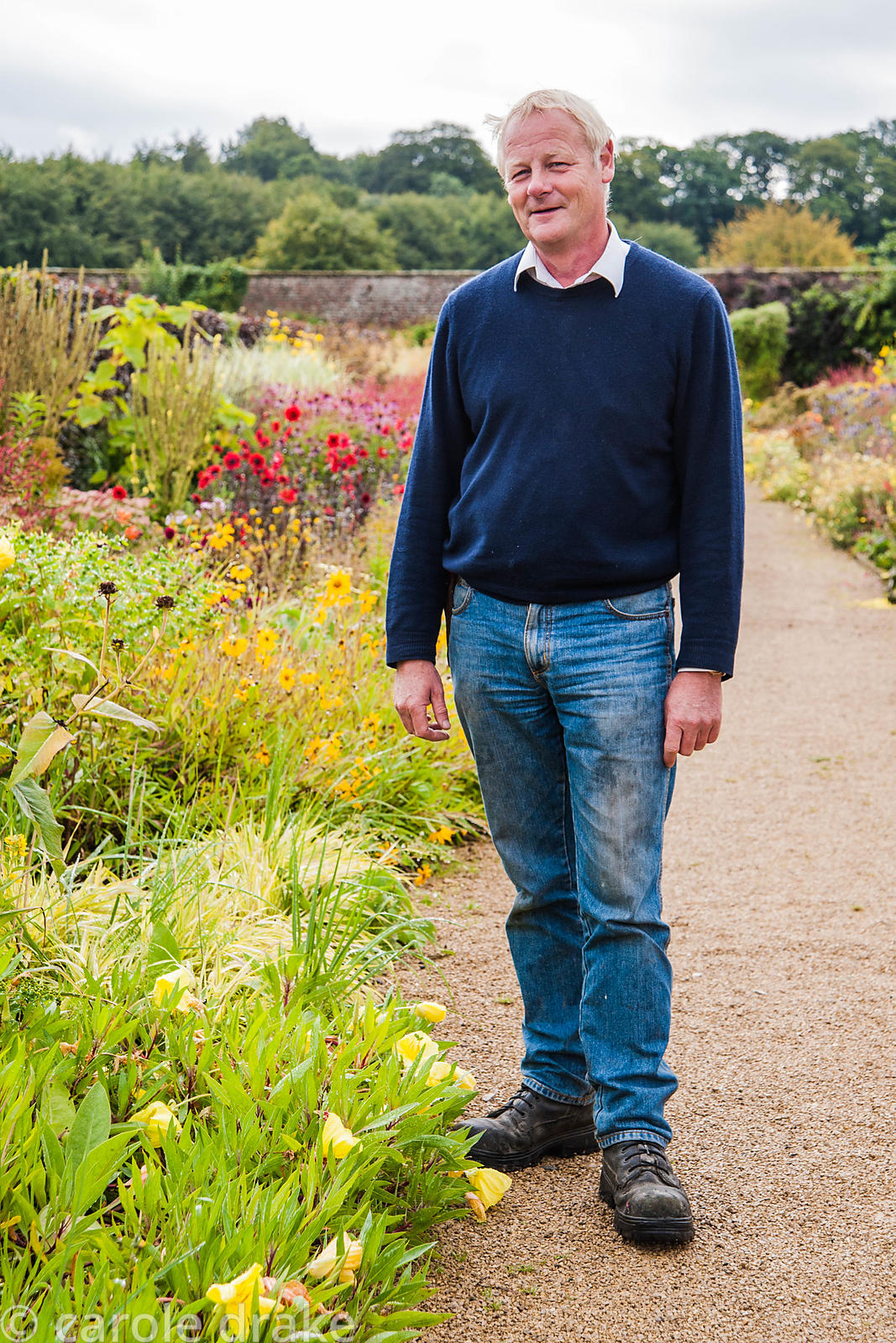 Norman Potter, head gardener, who previously had a career in the steel industry. Helmsley Walled Garden, Helmsley, York, Nort...