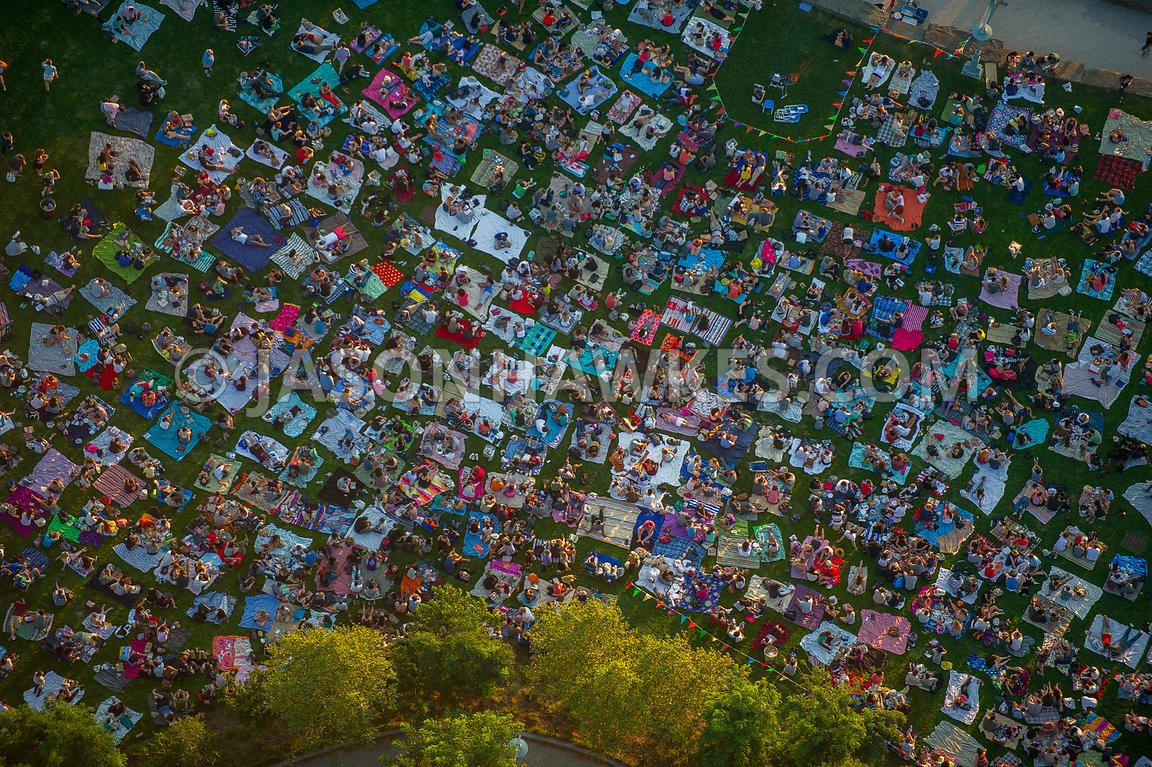 Aerial view of people in a park in New York