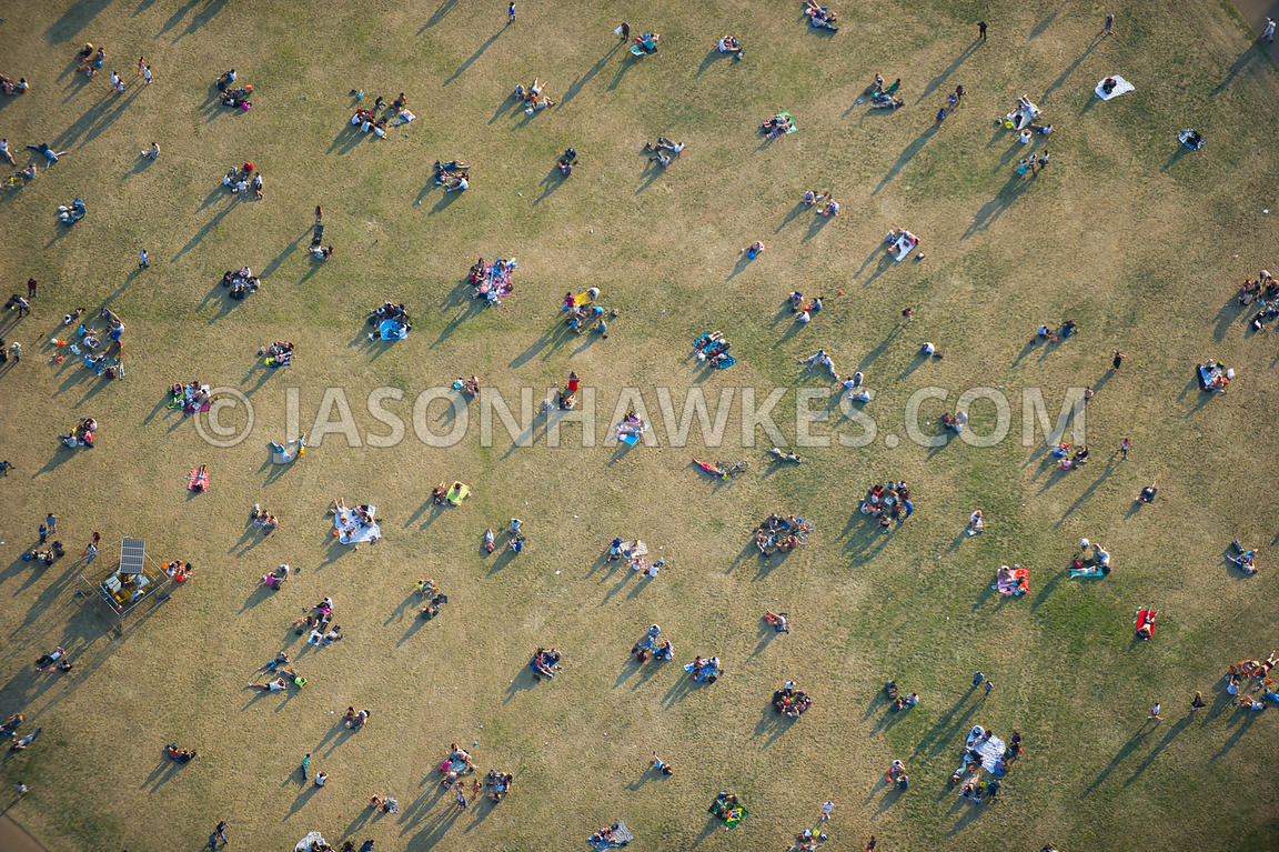 London. Aerial view of people in Hyde Park