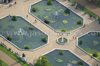 Aerial view of fountains in Italian Gardens, Kensington Gardens, London