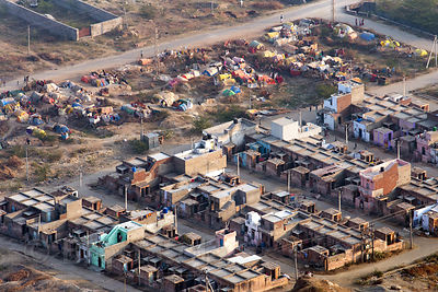 Aerial view of slums and a tent camp in Ajmer, from Leela Seori, Rajasthan, India