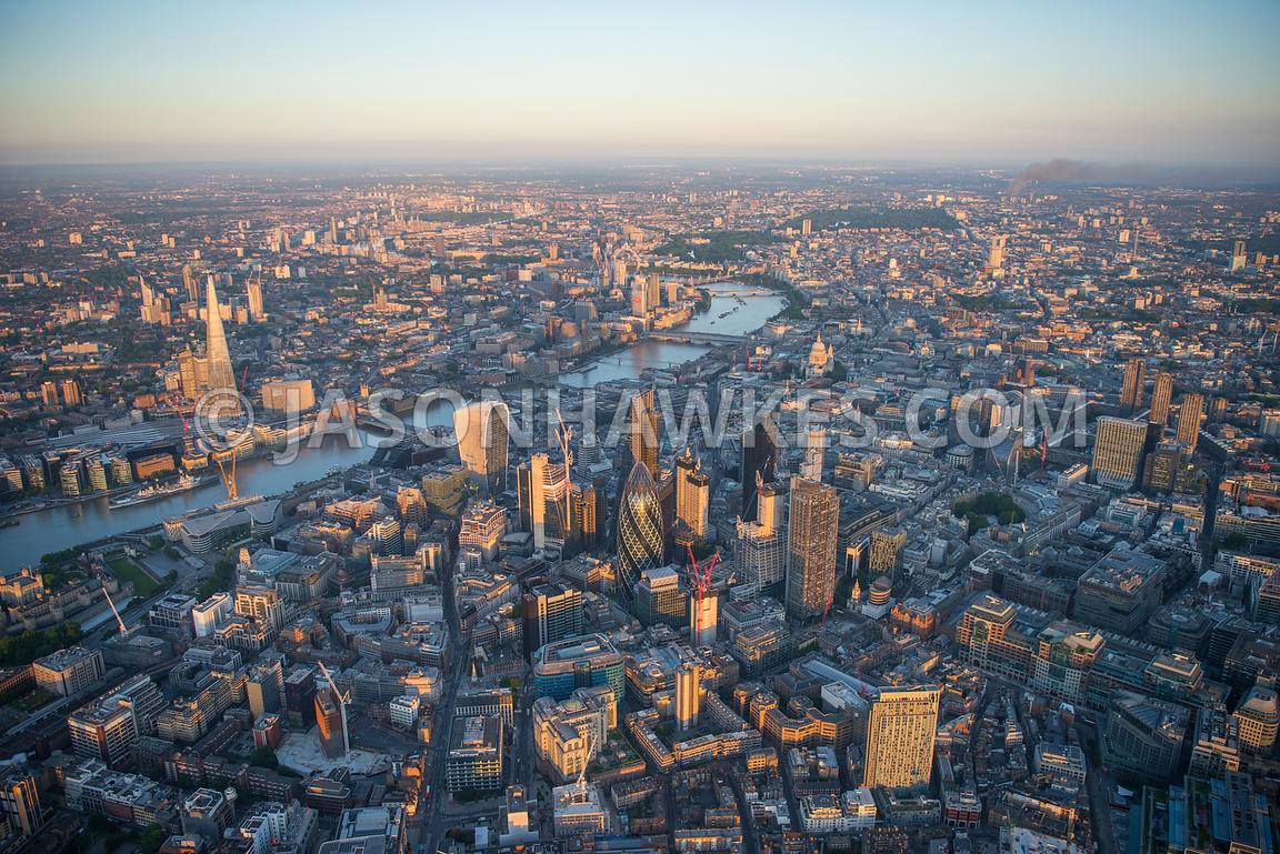 Aerial view of  City of London with River Thames and The Shard.