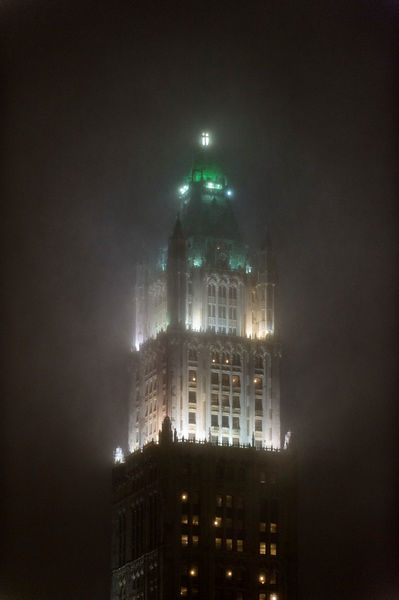 Woolworth Building in snowstorm