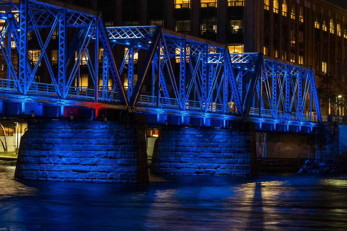 Blue Bridge at Night in Grand Rapids