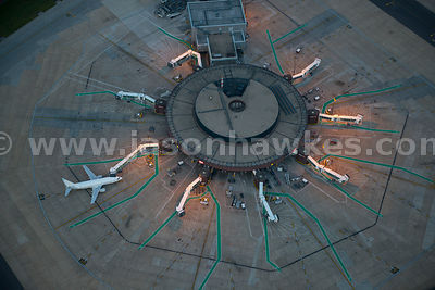 Aerial view of planes at Gatwick Airport, West Sussex
