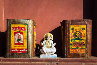 That's India for you! Marble idol of Saraswati among mustard oil cans, Budha Pushkar temple, Rajasthan, India