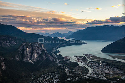 Squamish Chief and Howe Sound Coudy Sunset