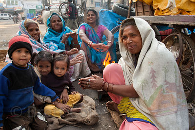 Family and friends at a market in Udaipur, Rajasthan, India