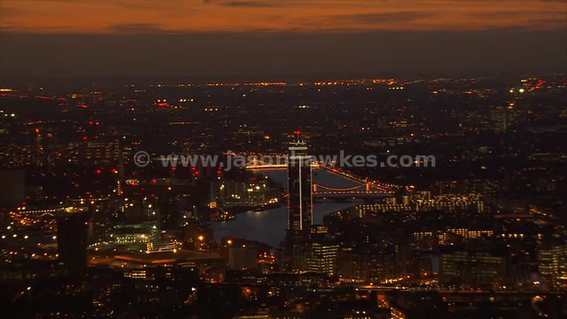 Aerial footage of Nine Elms at night, London
