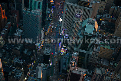 Close up aerial view looking over Times Square in Midtown Manhattan