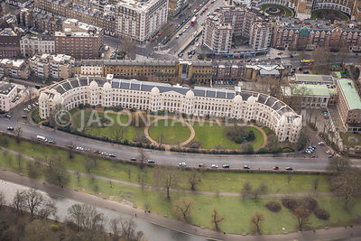 Aerial view of London, Regents Park, Outer Circle.