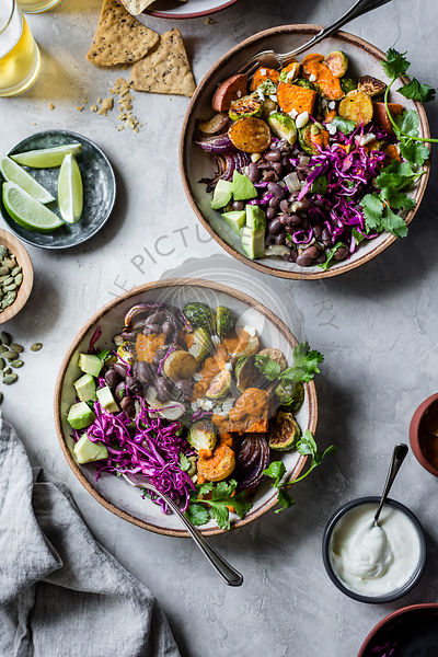 Mexican roasted fall veggie bowls.