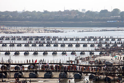 Pontoon bridges over the Ganges River at the 2013 Kumbh Mela, Allahabad, India.