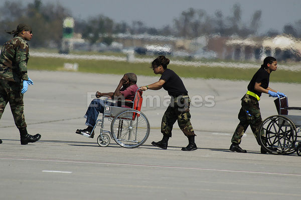 Hurricane Katrina evacuee at New Orleans Airport