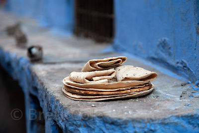 Chapati bread on a step in Jodhpur, Rajasthan, India