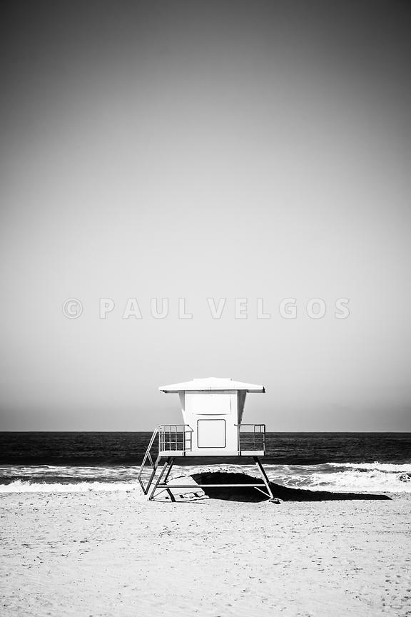 Orange County Lifeguard Tower Black and White Picture