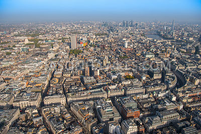 Aerial view of London, Regent Street with Great Marlborough Street towards St Giles.