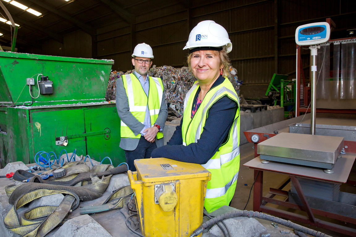 Binn Group, Glenfarg, Perthshire..6.6.18..Cabinet Secretary Roseanna Cunningham and Zero Waste Scotland Chief Executive Iain ...
