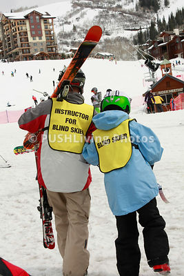 Adaptive ski program for blind skiers