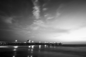 Black and White Photo of San Clemente Pier