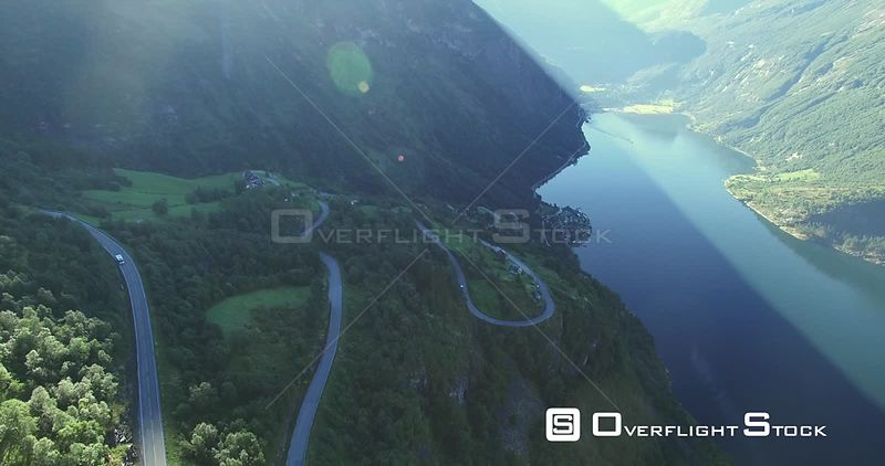 Winding Road on Scenic Geiranger Fjord Norway