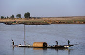 Pirogue on the Niger river, Mopti, Mali