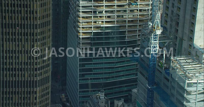 London Aerial footage, Bishopsgate construction and redevelopment.