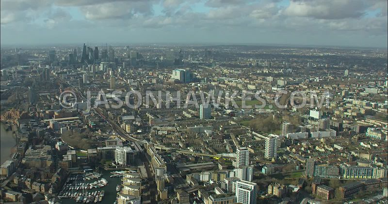 London Aerial footage, Limehouse towards Stepney and Stepney Green.